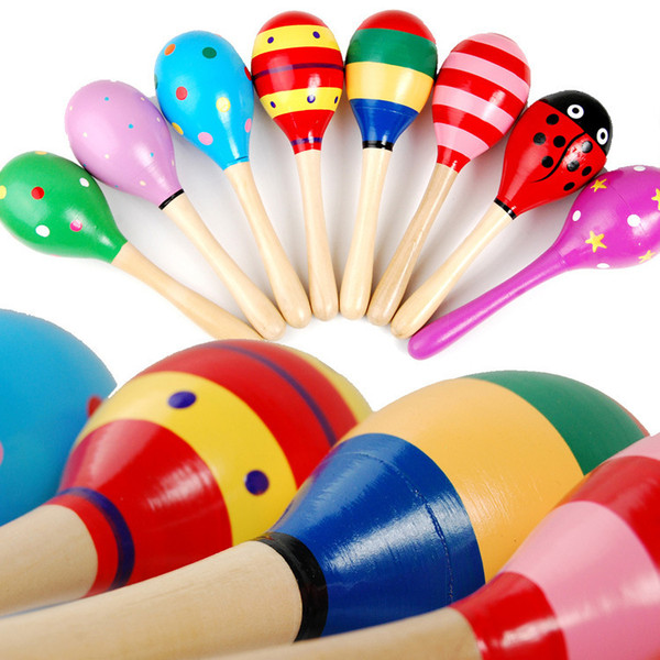 Wooden Small Sand Hammer Sand Ball Musical Instruments Educational Toys Manufacturers Sell Infant Educational Childhood Hand Bell Toys WM002