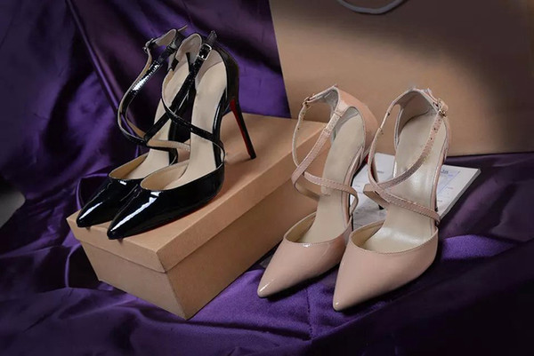 Original Box classic black and Nude women Brand High Heels Patent Leather Pointy Toe Dress Shoes Luxury Shallow Mouth Red Sole Wedding Shoes