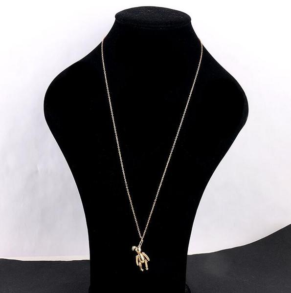 Лучшие продажи нового высокого качества дизайнер простой Питер Банни серьги жулик кролика контактный серьги ожерелье г-жа бренд ювелирный подарок любовь быстро доставить