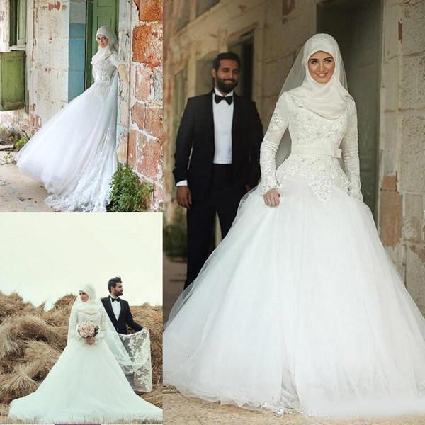 Mais recente de Alta Neck Manga Comprida Muçulmano Vestidos de Casamento Apliques Frisado Com Arco de Noiva Vestidos De Casamento Vestido De Casamento