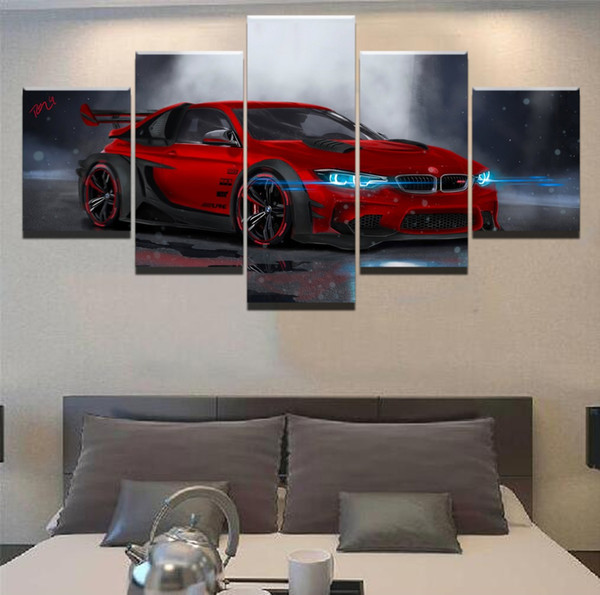 BMW M4 Red Sport Car,5 Pieces Canvas Prints Wall Art Oil Painting Home Decor (Unframed/Framed)