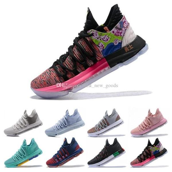 Kalite Yüksek KD 10 Kevin Durant Erkekler Basketbol Ayakkabı Oreo BHM Beyaz siyah sayılar Yıldönümü Sıva Igloo Çok Renkli 10 X Spor Sneaker