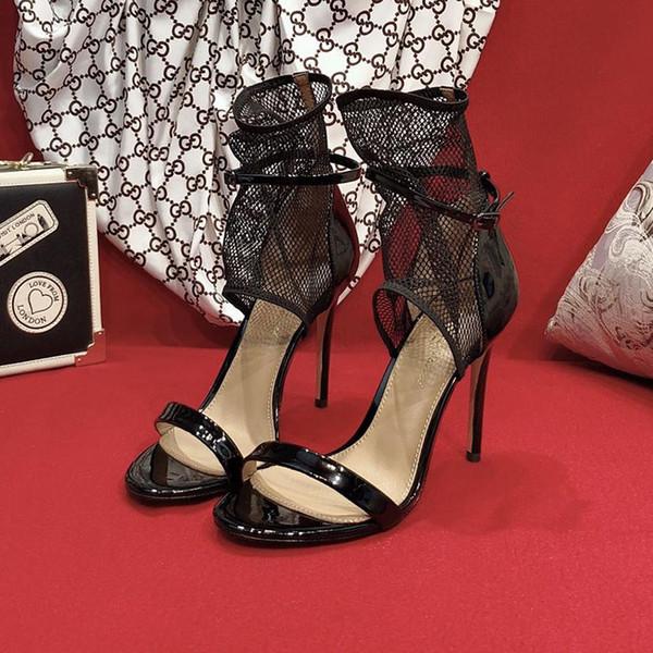 2019 Новая мода Женские высокие каблуки Прозрачный материал мягкий и удобный Hate Tiangao Женская обувь Высота каблука: 10.5cm кружева ткани