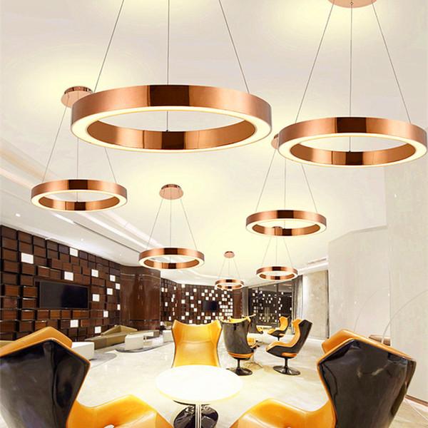 Acheter Moderne Nordic Rose Gold Restaurant LED Pendentif Lumières Cercle  Anneau Suspension Luminaire Salle À Manger Lumières Livraison Gratuite De  ...