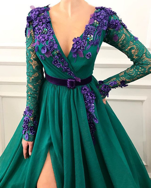2019 Sexy dark green evening dresses long sleeve lace robe de soiree Fashion V neck Flowers Front split A-L Prom Party Gowns