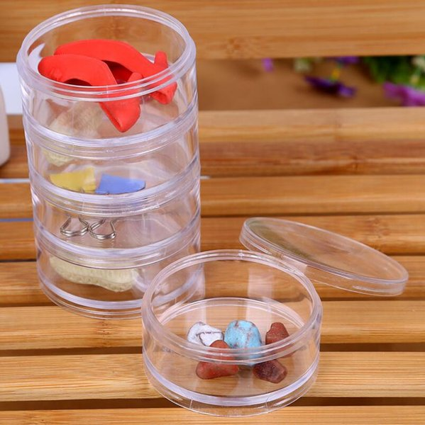7x7x13.5cm Transparent Plastic Cosmetic Storage Containers Minerals Display Clear Makeup Stackable Small Jar 5 layer LX7218