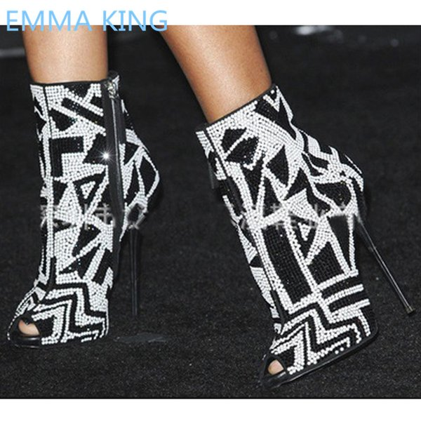 New Mixed Color Crystal Studs Women Summer Ankle Boots Peep Toe Sexy Ladies Gladiator Sandals Back Zipper Female High Heel Boots