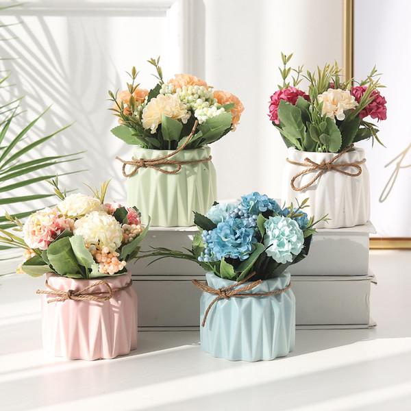 Factory direct European-style simulation hydrangea plant potted fake garden bonsai decoration home decoration wedding gift