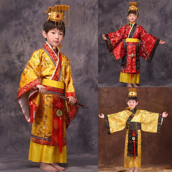 Meninos antigos china imperador chinês chapéu traje + vestido imperadores do príncipe roupas robe trajes lelouch imperador cosplay