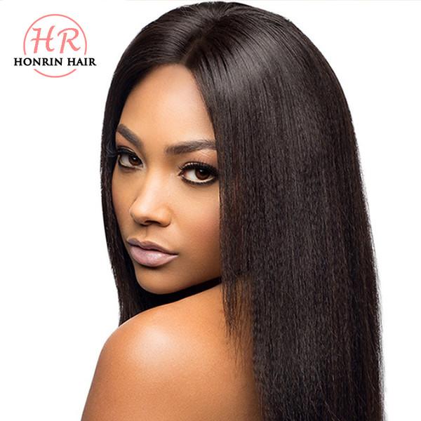 Honrin Hair Full Lace Human Hair Wig Light Yaki Straight Brazilian Virgin Hair Pre Plucked Hairline 150% Density Lace Front Wig