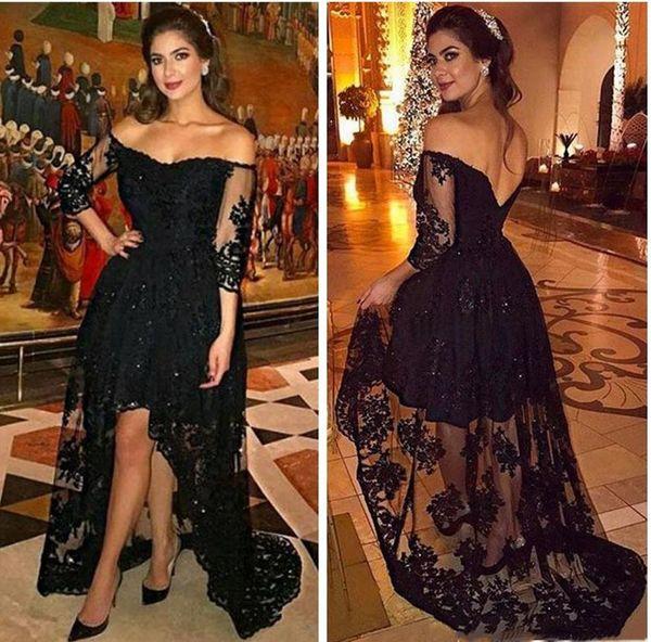 Elegant High Low Black Evening Dresses A Line Long Sleeves 2018 Off Shoulder Beaded Lace Short Party Dress Arabic Women Evening Gowns Plus