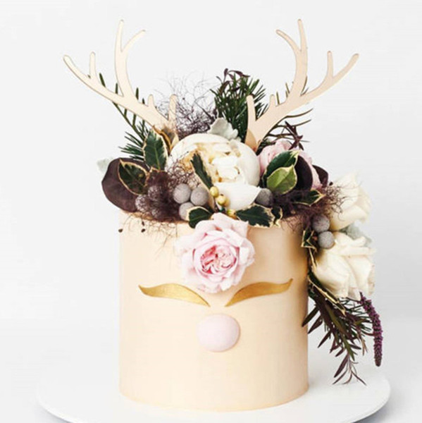2pcs Merry Christmas Acrylic Cake Toppe Gold Pink Deer Elk Antlers Acrylic Cupcake Topper For Xmas Party Cake Decorations 2019