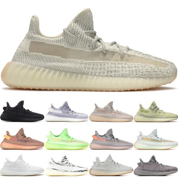 Stock X 2019 Black Reflective Kanye West Lundmark Antlia Synth Static Gid Glow Men Women Running Shoes Zebra Cream White Sneakers 36-48