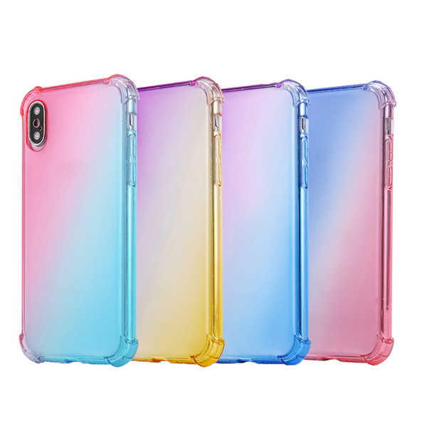 Simple Airbag drop-proof mobile phone case gradient mobile phone case shockproof soft TPU mobile phone case cover for iPhone