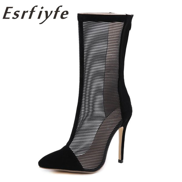 ESRFIYFE 2019 New Gladiator Sandals Summer Mesh Mid Calf Boots Stiletto High Heel Pointed Toe Women Sexy Shoes Party Bootie