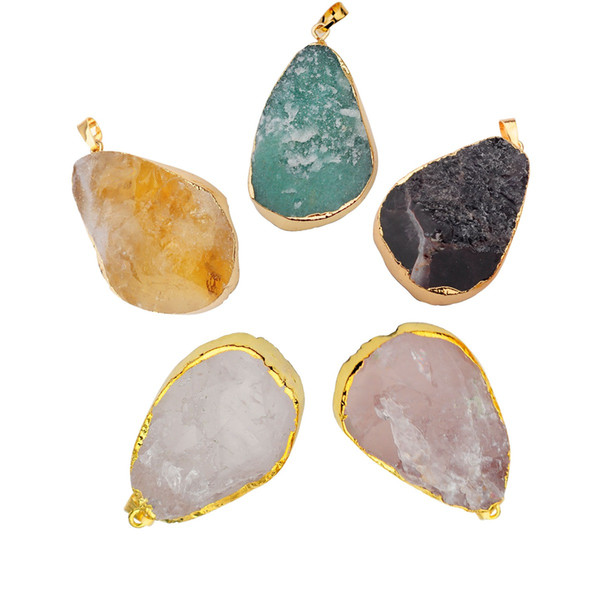 Natural Gilled Faceted Waterdrop Quartz Crystal Pendant Necklace Women Men Gold Color Amethyst Rose Quartz Citrine Charm Pendants Jewelry
