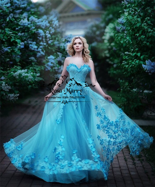 Cinderella Blue Plus Size Arabic Prom Dresses 2020 A Line Sweetheart 3D Floral Beaded Vintage Lace Princess Girls Birthday Formal Party Gown