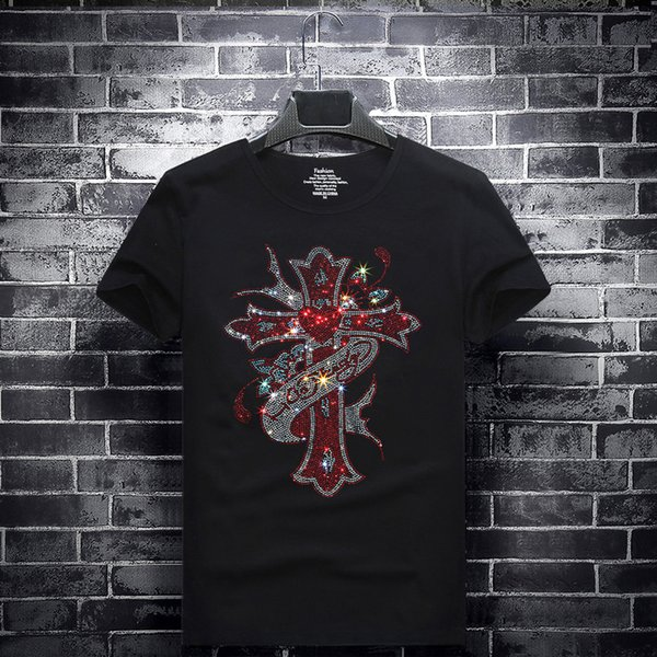 mens designer t shirts t shirt clothes of white clothing hot drilling T-shirt short-sleeved round neck half sleeves spiritual social guy 6XL