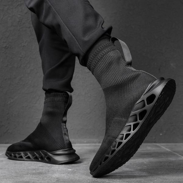 2019 moda masculina hip-hop sapatos, versão coreana da moda masculina de esportes e sapatos casuais, meias, sapatos e homens