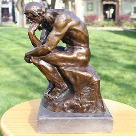 Sanat düşünür üzerinde meditasyon Bakır El Sanatları Süs bronz heykeli süsler Ev Mobilya iş hediyeler
