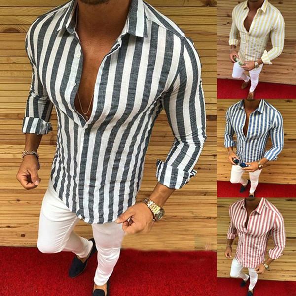 Chemises pour hommes nouvelle marque mode hommes luxe élégant rayé bouton Casual Dress chemises à manches longues Slim Fit chemises hommes chemise Tops