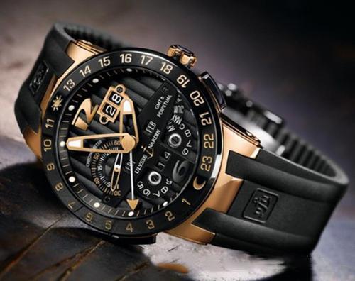 Ulysse Executive El Toro / Black Toro Perpetual Calendar GMT 326-00-3 / BQ Rose Gold Blue Dial Blue Rubber Automático Reloj para hombre UN-17c3