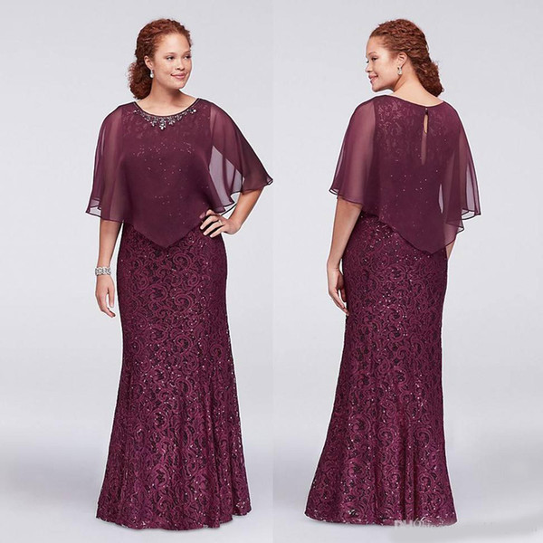 Burgundy Plus Size Lace Formal Dresses With Wrap Beaded Jewel Neck Mermaid Evening Gowns Cheap Floor Length Prom Dress