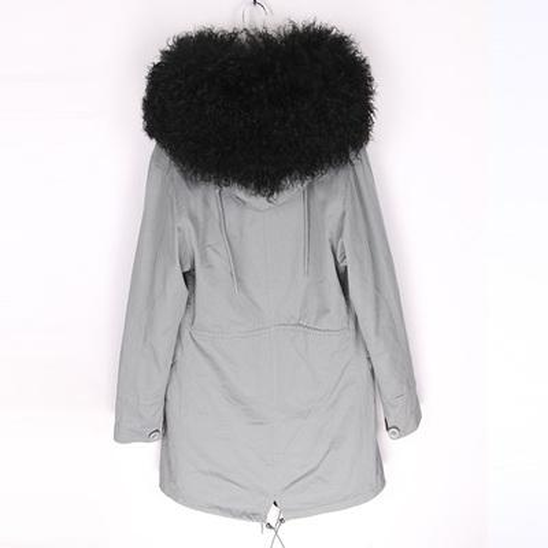 Fashion MAOMAOKONG Brand outdoor cold weather black Mongolia sheep fur hoody trim ladies fur coats black rabbit fur lining grey long parkas