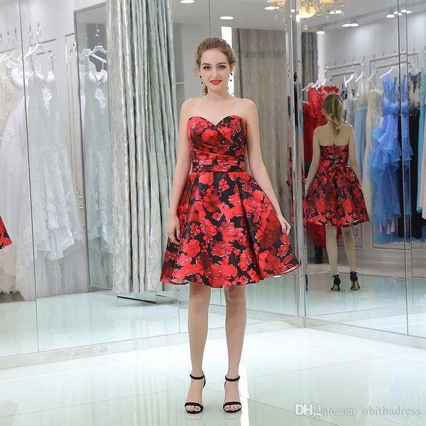 Festive Beautiful Big Red Printing Pleated Cloth Tube Top Adult Ceremony Dress Cocktail Dress Prom Dresses