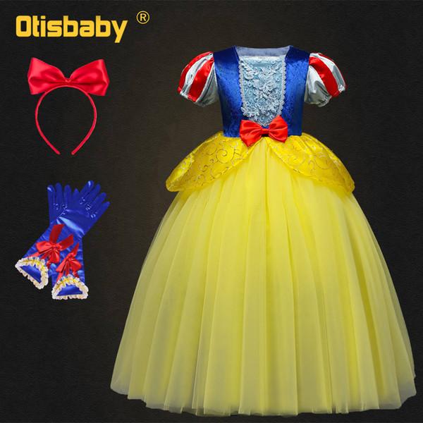 Christmas Fancy Girls Snow White Dress Halloween Fairy Princess Costume Kids Beautiful Ball Gown Birthday Gift Fantasia Infantil