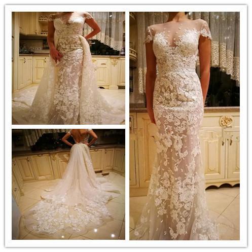 Berta 2019 Modern Mermaid Wedding Dresses Bateau Illusion Bodice Short Sleeve Heavily Embellished Court Train Overskirts Garden Bridal Gowns