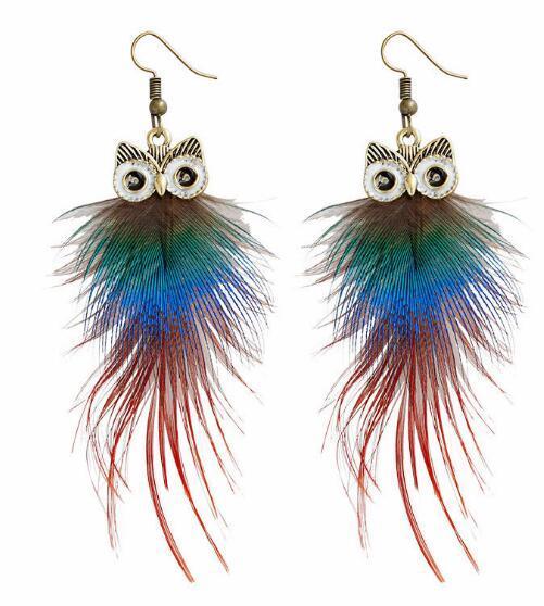 nuovo stile caldo europeo e americano personalità popolare piuma di pavone gufo orecchini lunghi orecchini di design della moda
