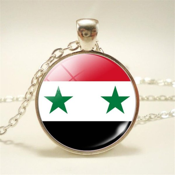 2019 New Fashion Syria National Flag World Time Gem Glass Cabochon Pendant Necklace Long Link Chain Choker Jewelry For Women Man Top Quality