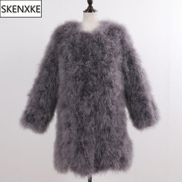 2019 новый длинный стиль женщины натуральный мех страуса зимняя мода леди из натурального меха страуса пальто трикотажные девушки реальная куртка