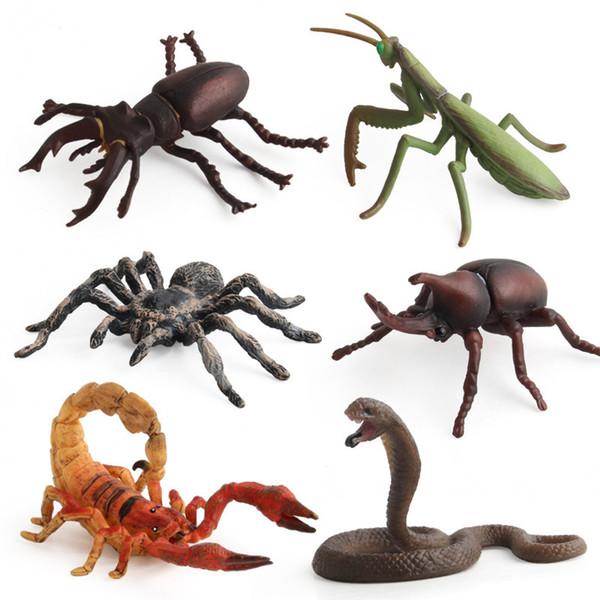 6 pezzi / set Modello di insetto Giocattolo Animali ragno Mantide Scorpione Cobra Collezione di giocattoli Educazione precoce Regalo Decor per i bambini