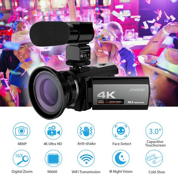 Andoer 4K 48MP WiFi Cámara de Video Digital + Micrófono Externo + Lente Gran Angular 0.39x + Mini Luz de Video LED + 2pcs Batería + Bolsa para Cámara