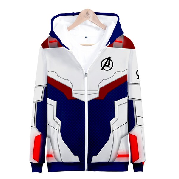 Mens diseñador de lujo con capucha Avengers 4 Endgame Zipper Hoodies Hombres Mujeres Sudaderas de manga larga Hip Hop Harajuku Chaqueta casual Abrigos