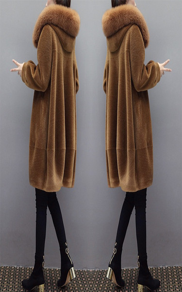 Sheep shearing overcoat for lady 2018 winter wear new fur collar fur integration in the long cape fur coat