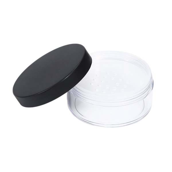 50g Plastic Empty Loose Pot With Sieve Cosmetic Makeup Jar Container Handheld Portable Sifter with Black Cap