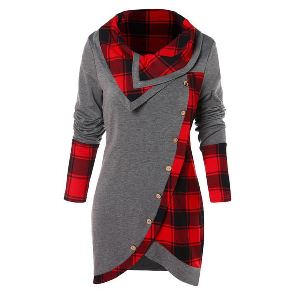 Wipalo Panneau Tartan Asymétrique T-shirt Pour Femmes Col Rabattu À Manches Longues Bouton Up Tops Femmes Tops Casual Color Block Tees