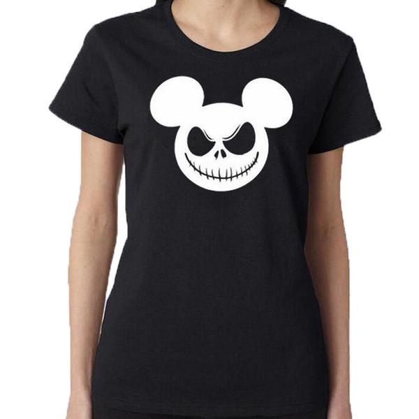 Das T-Stück der Frauen Albtraum-Weihnachten Jack Skellington T-Shirt Karikatur-lustiges Halloween-T-Shirt