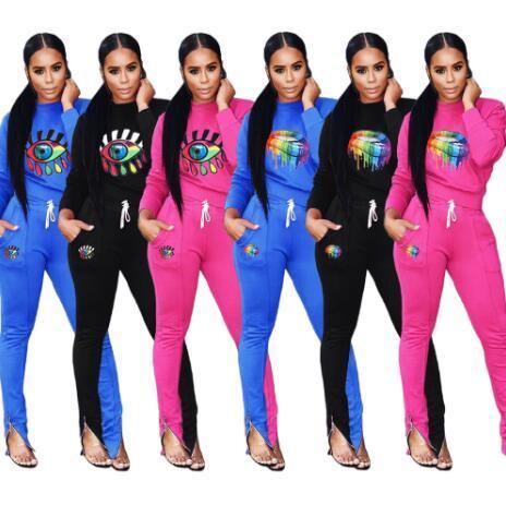 Kadınlar Eşofman Artı boyutu kızlar Hoodie uzun Pantolon spor giyim yazdırmak 2 adet set Kıyafet İlkbahar Sonbahar Casual Giyim Suit S-2XL