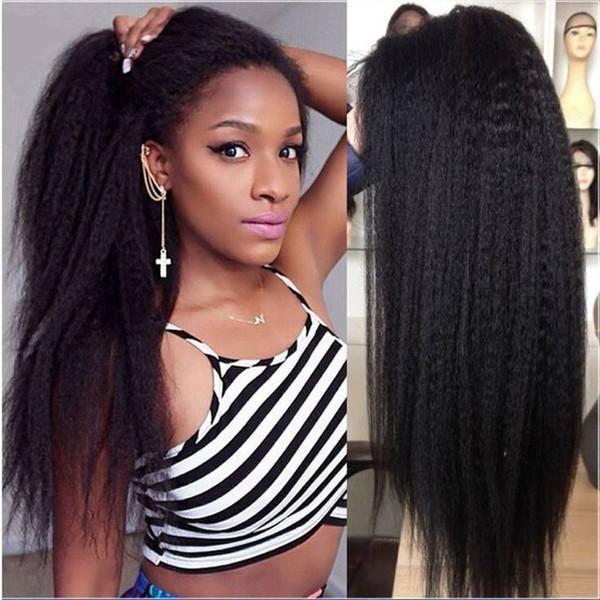 10A Yaki Perruques Avant de Cheveux Humains Brésiliens Cheveux Crépus Droite Avant de Lacet Perruques Suisse Dentelle Cap Blanchi Noeuds