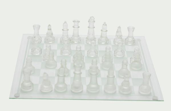 Conjunto de xadrez de cristal de vidro de xadrez de vidro fosco