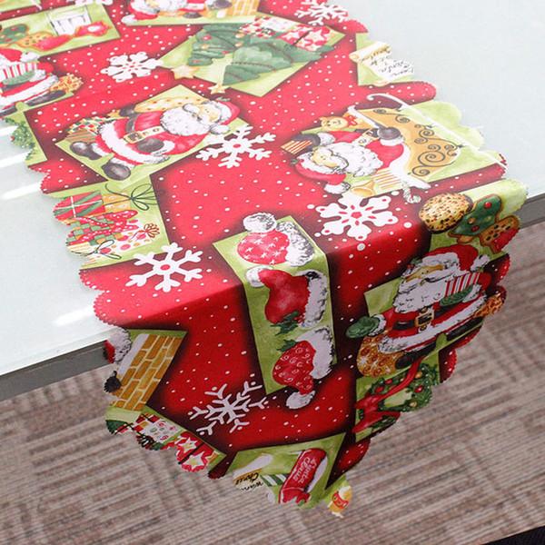 1pcs Santa Claus Deer Christmas Tree Table Runner Placemats Tablecloth Mat Festival Wedding Xmas Party Banquet Home Decor 62303