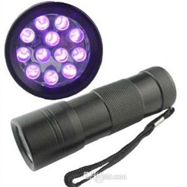 395-400NM Mini luce ultravioletta UV Mini portatile 12 LED UV Torcia Scorpion Torque Finder Finder Luce nera (UV-12)