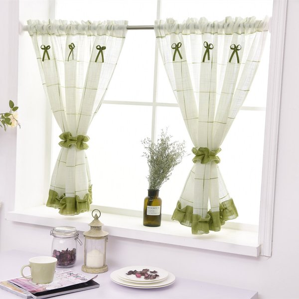 2pcs simples Pastoral Estilo Cozinha Cortina de alta qualidade pano de linho Cortina com laço verde Rod bolso para a janela / porta