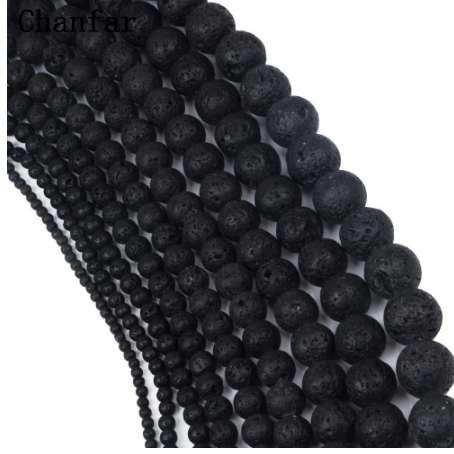 Großhandel Schwarz Lava Perlen Natürliche Vulkangestein Stein Perlen Lose 4 6 8 10 12 14 16 18 20mm Handgemachte Schmuckherstellung
