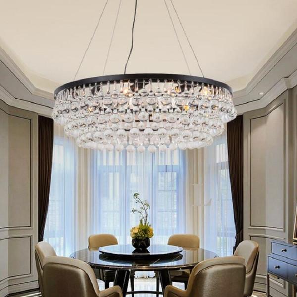 Acheter Poteau Rond Moderne Pour Lustres Processus Crystal Living Room  Grand Lustre De Lustre En Cristal Foyer LED Avitaillement Maison Lampe ...