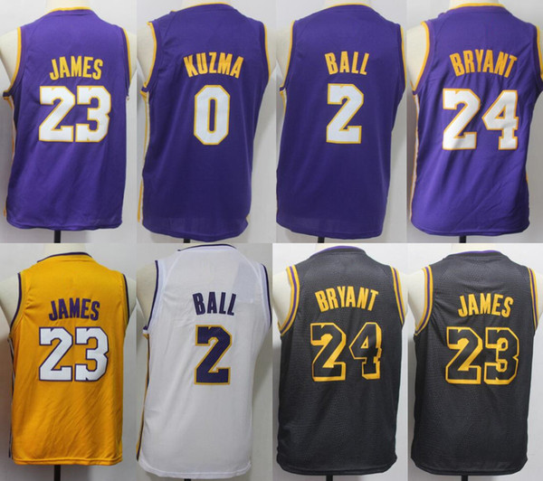 uk availability 229d3 fa1fb 2019 Youth Kids#23 LeBron James Los Angeles Jersey Lakers 2 ...
